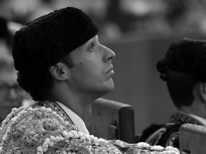 Mirada en blanco y negro de Morenito de Aranda en Madrid