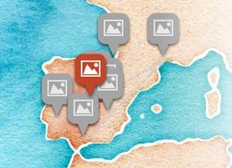 MAPA Interactivo de sus tardes en España y Francia