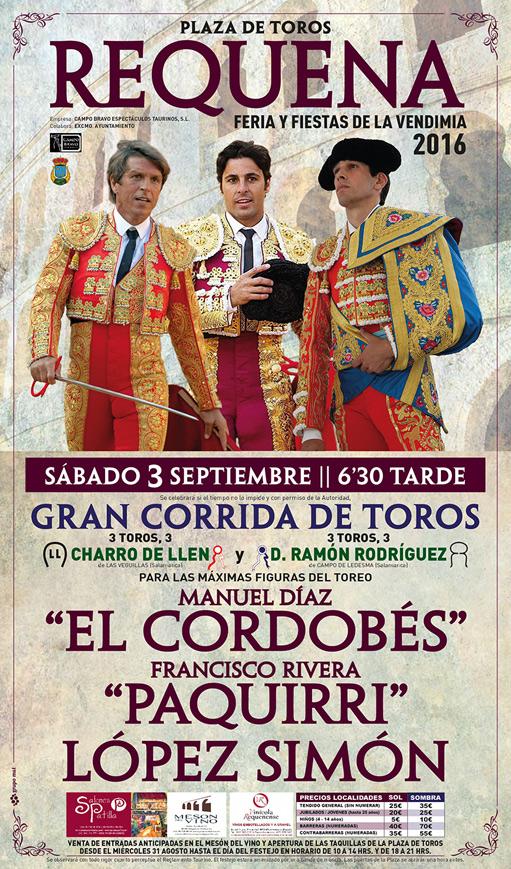 Cartel toros Requena 2016