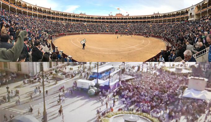 LA IMAGEN Contraste entre Las Ventas y la manifestación de Sol. Que dejen de mentir los que mienten