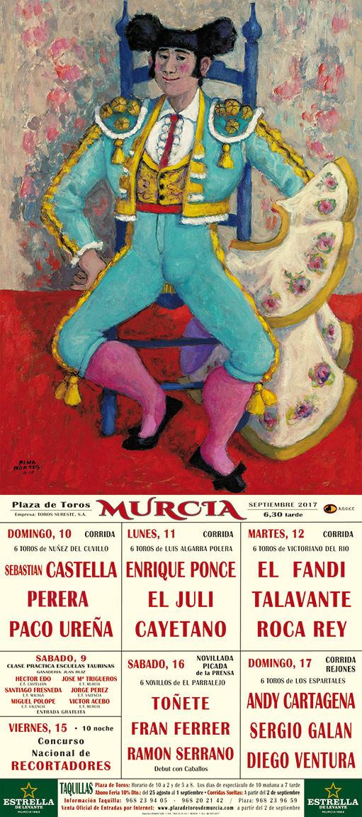 cartel de la feria taurina de Murcia con la sustitución de Manzanares