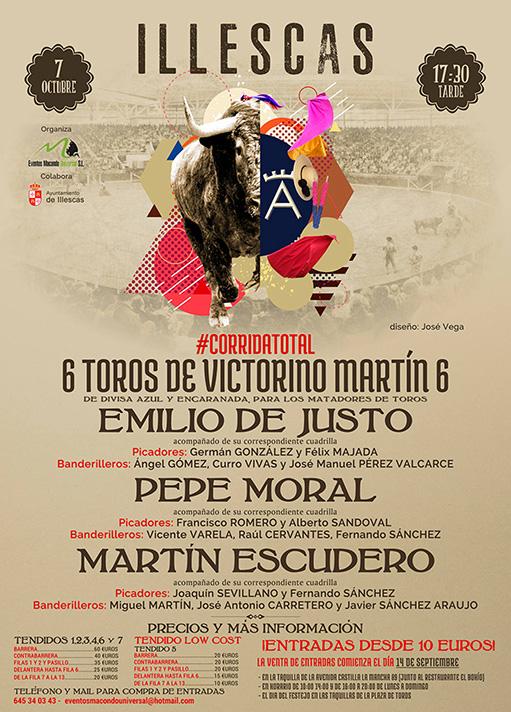 cartel de los toros en Illescas 7 Octubre 2017