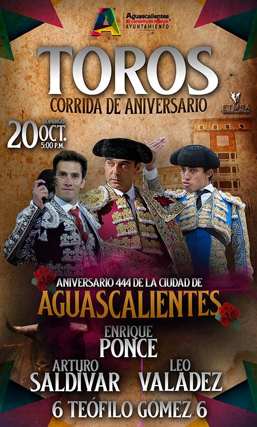Festejo taurino en Aguascalientes el 20 octubre