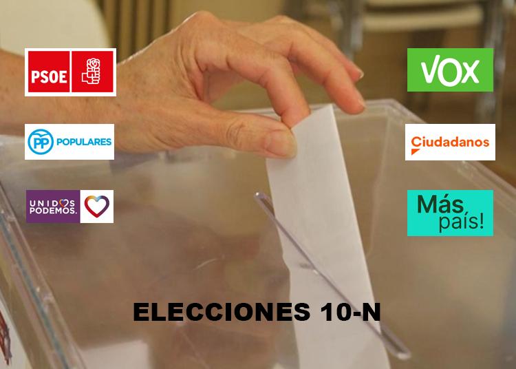 Elecciones 10-N. Programas Electorales pp psoe vox ciudadanos podemos mas pais