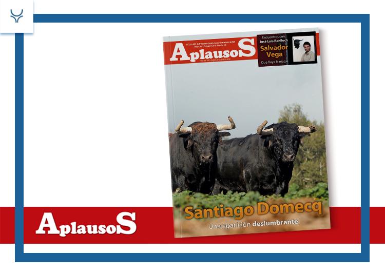 La ganadería de Santiago Domecq, portada de Aplausos