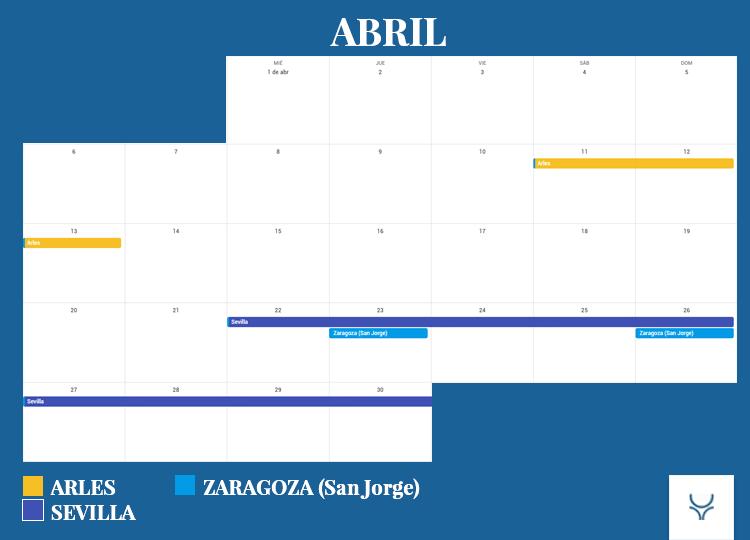 Calendario Taurino - Abril 2020