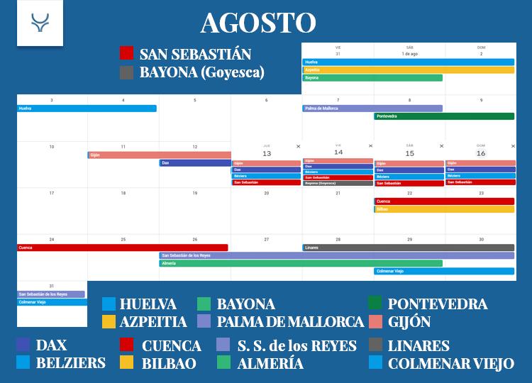 Calendario Taurino - Agosto 2020