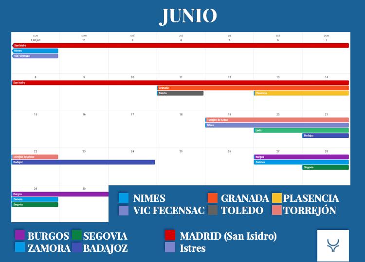Calendario Taurino - Junio 2020