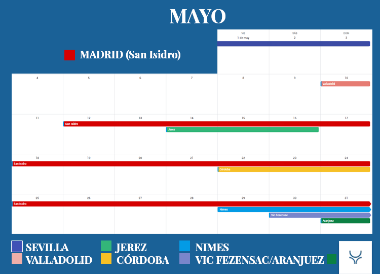 Calendario Taurino - Mayo 2020