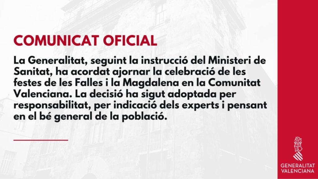 Nota de prensa del aplazamiento de la Feria de Fallas y de Castellón