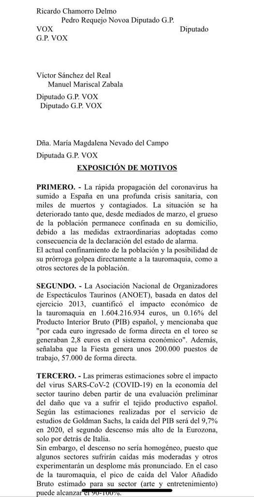 Proposición No de Ley VOX - Coronavirus