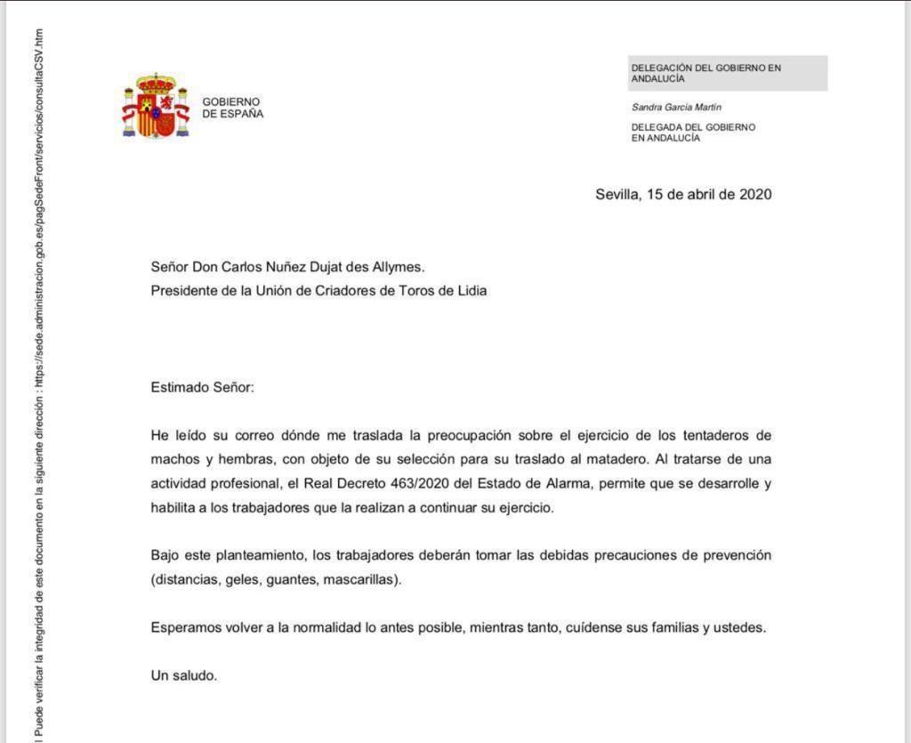 La Delegación del Gobierno de Andalucía permite los tentaderos durante el Estado de Alarma