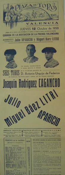 Cartel Alternativa Julio Aparicio, Litri, Cagancho