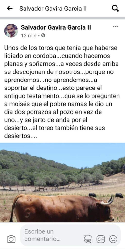 Reflexión del ganadero Salvador Gavira