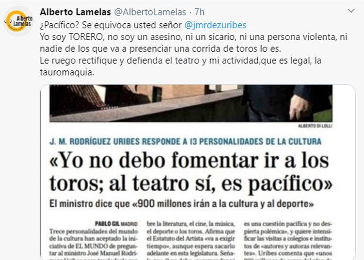 El toreo, indignado con Rodríguez Uribes