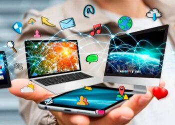 tecnología, mano, editorial, recurso