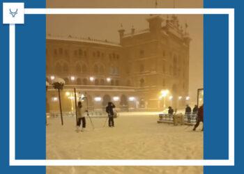 Los exteriores de Las Ventas se convierten en una pista de esquí improvisada