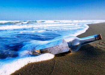 mensaje, botella, mar, playa, recurso