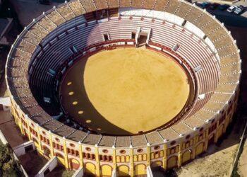 Sanlúcar de Barrameda, Cádiz, plazas de toros, vista área